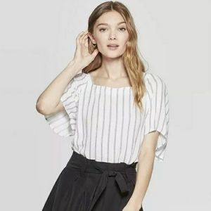 Square Neck Striped Short Sleeve Top
